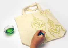 fashionartprojects.com - Tote bag with a Soap Resist. BRILLIANT! Use liquid dish soap for the resist. Can't wait to try it.