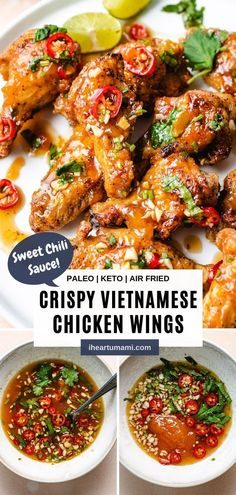 Vietnamese air fryer chicken wings with sweet chili garlic sauce is super crispy, no marinate required, and ready in 10 minutes! #chickenwings #airfryerrecipes #ketorecipes #gamedayrecipes #chickenrecipes Chicken Wing Recipes, Healthy Chicken Recipes, Paleo Recipes, Asian Recipes, Real Food Recipes, Keto Chicken, Air Fryer Healthy, Whole 30 Recipes, Simple Recipes