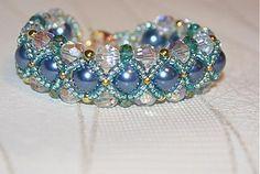 Náramky - modro-zeleno-zlato-číry - 3524494