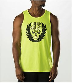 "Show your love to Nike Running in the Nike Oregon Project Running Tank. Where it all started on the grounds in Oregon, Nike makes sure you show that you're dedicated to the sport. The Nike Oregon Project Running Tank is made with sweat-wicking fabric to help keep you dry and cool. Its screen printed graphic honors a world-renowned running group. Model height 6', waist 32"" and wearing Size Large. Product sizing may vary from brand to brand. FEATURES: FABRIC: 75% polyester, 13% cotton Dri-FIT…"
