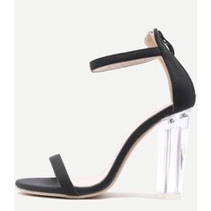 SheIn(sheinside) Black Ankle Strap Transparent Chunky Heels found on Polyvore featuring polyvore, women's fashion, shoes, pumps, black, peep-toe pumps, thick heel pumps, peeptoe pumps, black high heel pumps and chunky heel pumps