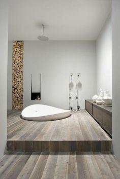 schöne badewanne kamin badezimmer design