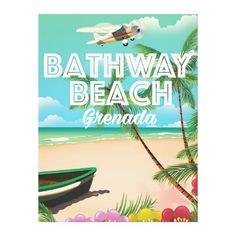 Grenada Bathway beach Travel Poster Canvas Print