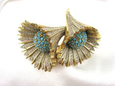 Jomaz Brooch Cornucopia of Clear Rhinestones Turquoise Glass