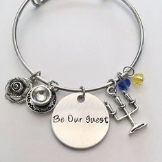 Be Our Guest Beauty and the Beast Lumiere Chip Mrs. Potts Belle Disney Princess Inspired Hand Stamped Adjustable Bangle Charm Bracelet #beautyandthebeast #beourguest #mrspotts #chip #lumiere #coggsworth #belle #disney #handstamped #adjustablebangle #charmbracelet #disney #disneyjewelry #disneystyle #banglecharmbracelets