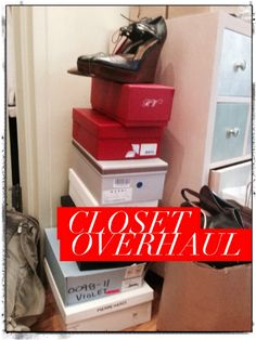 Closet Overhaul 101: What about the clothes you don't wear.  The Big Ouch: One of the stacks from my recent purge of shoes that don't feel quite right after wearing them for an hour or so.  #closetcleaning #shoes #springcleaning #organizing #stylistadvice #stylemotivation