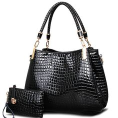 Buy it before it ends. There is always many products on sae upto - 2017 big capacity black white shoulder bags crocodile borse women totes lady handbag+purse/wallet carteras mujer kit 2 bags/set - Pro Buyerz White Shoulder Bags, Small Shoulder Bag, Chain Shoulder Bag, Shoulder Handbags, Shoulder Straps, Women's Crossbody Purse, Purse Wallet, Tote Bag, Tote Handbags