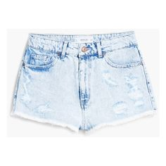 High-Waist Denim Shorts (380 NOK) ❤ liked on Polyvore featuring shorts, short, bottoms, denim short shorts, distressed high waisted shorts, high rise denim shorts, destroyed jean shorts and high waisted short shorts