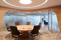 Australian energy company Woodside has chosen ergonomic seating from Wilkhahn for its new headquarters in Perth. New Zealand Architecture, High End Lighting, Base Building, Delta Light, Corporate Office Design, Glass Facades, Conference Chairs, Energy Companies, Lighting Solutions