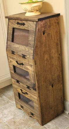 Rustic Vegetable Bin Potato Bread Box Storage Cupboard Primitive Kitchen wooden Shelf Onion Potatoes Farmhouse Country Snacks towels by dlightfuldesigns Onion Storage, Bread Storage, Cupboard Storage, Storage Boxes, Kitchen Storage, Storage Ideas, Potato Storage, Cabinet Shelving, Shelving Racks