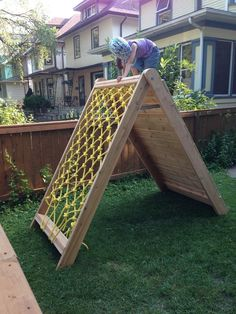 Mincing Thoughts: Kids Climbing Play Structure - Building a Climbing Wall and Cargo Net #indoorplayhousekits