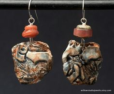 Paprika and Sky earrings rustic artisan by WillowStudioJewelry
