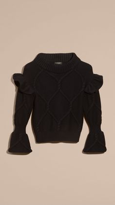 Cable Knit Wool Cashmere Sweater with Ruffle Bell Sleeves Black | Burberry