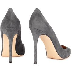 Gianvito Rossi Classic Grey Suede Pumps - Size 4 (€530) ❤ liked on Polyvore featuring shoes, pumps, heels, sapato, pointed toe pumps, pointed toe high heel pumps, suede pointed toe pumps, high heeled footwear and slip on shoes