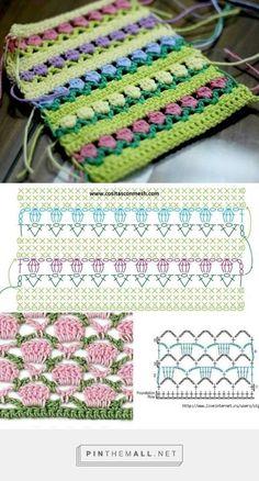 How To Crochet The Flower Stitch - Nazta - Diy Crafts - Best Knitting Crochet Fabric, Crochet Motif, Crochet Designs, Free Crochet, Puff Stitch Crochet, Crochet Stitches Chart, Crochet Diagram, Diy Crafts Crochet, Crochet Hats