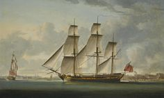 """photoThe East Indiaman """"Delaford"""", in two positions, passing Deptford, the royal hospital at Greenwich beyond, 1787, ROBERT DODD 1748 - 1815 signed lower centre: R. Dodd. 1787 oil on canvas 74 by 121 cm.; 29 by 67 1/4 in."""