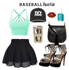 """Baseball hats"" by shark0girl ❤ liked on Polyvore featuring Chloé, LE3NO, Charlotte Olympia, Ivy Park, Chiara Ferragni, Essie, Lime Crime, baseballcap and baseballhats"
