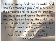 Breathe in the amazing, hold on through the awful, and relax and exhale during the ordinary. Is there really anything other way to live? Great Quotes, Quotes To Live By, Inspirational Quotes, Fantastic Quotes, Quick Quotes, Uplifting Quotes, Awesome Quotes, The Words, Soul Healing