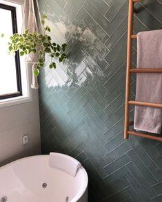 Bathroom Renos, Bathroom Renovations, Bathroom Interior, Modern Bathroom, Green Subway Tile, Subway Tiles, Subway Tile Patterns, Herringbone Tile Floors, Herringbone Pattern