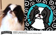 """Cheeky"" Custom Pet Portrait Japanese Chin Dog Face Portrait Digital Illustration Painting"