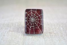 Halloween ring  dark purple ring  spider ring  by BGLASSbcn