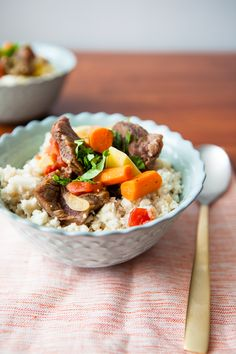 Crock Pot Beef Stew with Cauliflower Rice /