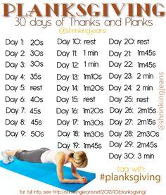 Anyone up for some planking? Beginner: http://shrinkingjeans.net/2013/10/planksgiving/ Intermediate: