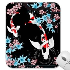 Shop Koi Pond - Spring - Japanese Design Mousepad created by sherill_ml. Japanese Water Tattoo, Koi Fish Colors, Goldfish Pond, Chinese Crafts, Koi Art, Carpe Koi, Japanese Artwork, Japanese Illustration, Fish Patterns