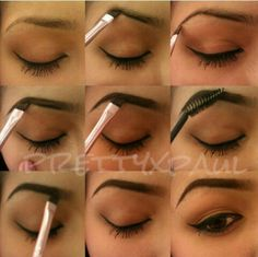 How to fill in your eyebrows. First underline the under part of my brow, then define the end of my brow. Then outline the top of my brow, fill it in, comb out the brow with a clean mascara wand/spoolie. Then with whatever is left on the brush, lightly and carefully fill in the beginning of my eyebrows, achieving a gradient filled eyebrow.