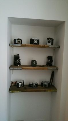 Shelves made from cut down scaffold planks, a new home for my vintage cameras Scaffolding, Vintage Cameras, Planks, Alcove, Floating Shelves, New Homes, Decorating, Projects, Painting