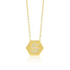 Made Simply Boutique's Hexagon Necklace in Yellow Gold, Letter S