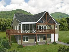 062H-0294: Small Mountain House Plan Guest House Plans, Lake House Plans, Garage House Plans, Small Lake Houses, Outside Steps, Fireplace Frame, Floor Plan Drawing, House Front, Front Porch