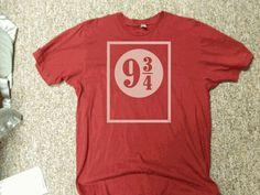 Platform Nine and Three Quarters Harry Potter T shirt. $9.99, via Etsy.