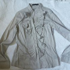The limited ruffle blouse Excellent condtion.  Slim fitting. Button down. Size medium. Gray and white. The Limited Tops Button Down Shirts