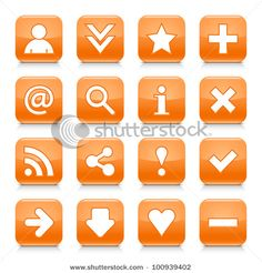 Look more my images http://www.shutterstock.com/gallery-498844.html — 16 glossy orange button with basic sign. Rounded square shape internet web icon with black shadow and reflection on white background. This vector illustration design elements saved 8 eps — #Royalty #free #stock #photo #illustration for $0.28 per download http://submit.shutterstock.com/?ref=498844