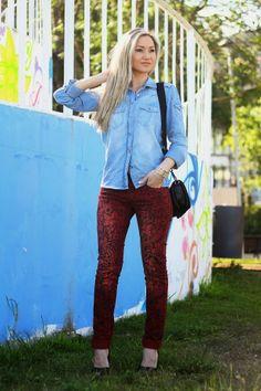 look do dia, ootd, look of the day, spring trends, tendências primavera verão 2014, casual chic look, denim shirt, camisa de ganga, red, new...