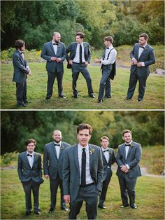 classic dark gray groomsmen looks #groom #groomsmen #weddingchicks http://www.weddingchicks.com/2014/03/20/dainty-wedding-with-pops-of-pink/