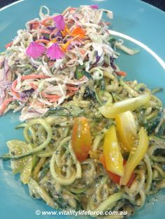 Zucchini Pasta with mushroom and walnut sauce and a side of coleslaw dressed in creamy cashew sauce - YUM! #raw #vegan #Orawgi