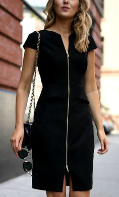 Black peplum front zip sheath dress, classic black pumps, oversized sunglasses {Ted Baker, Nordstrom, Saint Laurent, Gucci, workwear, wear to work style, office style}