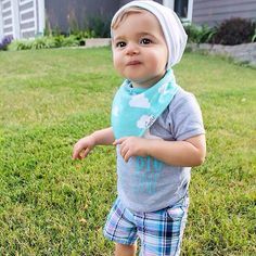 Little Coop in our clouds bib.