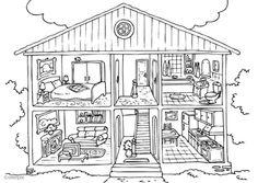 Los cuartos de la casa Kleurplaat huis - binnenkant
