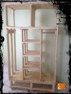 I need another closet! This could work in my laundry room. DIY Pallet Closet Organizer | 99 Pallets