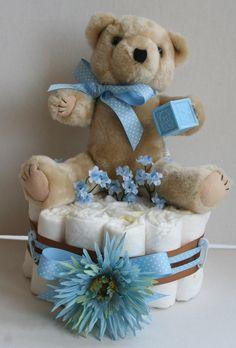 Boy Baby Shower diaper cake centerpiece