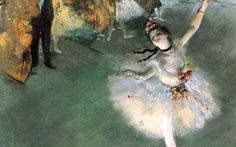 """Você já deve ter visto esses quadros lindos do Degas reproduzidos em algum lugar. Ele tinha obsessão por bailarinas em movimento e ficou famoso por isso. E reparou como a bailarina quase escapa do quadro? É que ele nunca centralizava os personagens. A intenção era passar a sensação de espontaneidade, como numa fotografia """"roubada"""". A Estrela, é um dos seus quadros mais famosos."""