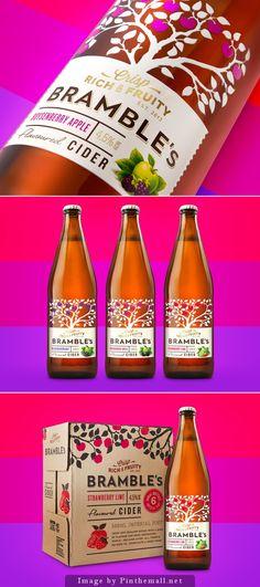 Bramble's Cider - Branding and packaging design for a premium fruit infused range of Ciders. Fruit Packaging, Beverage Packaging, Coffee Packaging, Bottle Packaging, Brand Packaging, Wine Design, Bottle Design, Somersby Cider, Olives