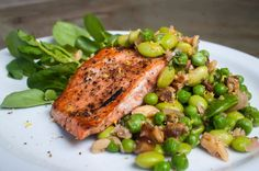 What's Cooking: The Kitchen's grilled salmon with spring pea, mint and watercress Kitchen Grill, Grilled Salmon, What To Cook, Salmon Burgers, Grilling, Mint, Chicken, Cooking, Ethnic Recipes