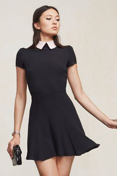 Alright, we really can't get enough of flirty little dresses. The Tuesday Dress is no exception. This is a ghost crepe fit and flare mini dress with collar detail, slightly puffed cap sleeves and a hook/zip closure in the back. Throw it on and roll out.    https://www.thereformation.com/products/tuesday-dress-black-rose?utm_source=pinterest&utm_medium=organic&utm_campaign=PinterestOwnedPins