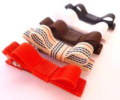 burberry hair bows--2 inch red tan black white preppy stripe school uniform hair bows --set of 5 baby toddler girl hair bows. $6.00, via Etsy.