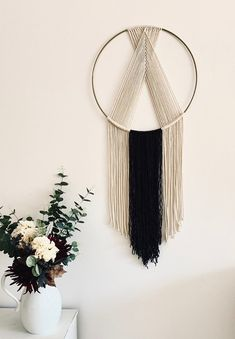 Circle Macrame Wall Hanging Cream and Black Gold Ring - - This handmade macrame was woven on a gold-colored metal ring using cream rope and black yarn. Macrame Wall Hanging Patterns, Large Macrame Wall Hanging, Yarn Wall Hanging, Macrame Patterns, Wall Hangings, Quilt Patterns, Macrame Mirror, Macrame Curtain, Canvas Patterns