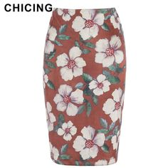 CHICING Women Floral Printed Bodycon Pencil Skirt Fashion High Waist Slim Tube Wrap Midi Saia Femininas A1708057